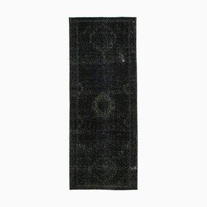Black Turkish Decorative Handmade Overdyed Runner Carpet