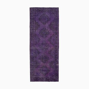 Purple Anatolian Low Pile Hand Knotted Overdyed Runner Carpet