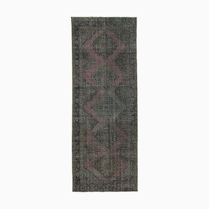 Grey Oriental Wool Hand Knotted Overdyed Runner Carpet
