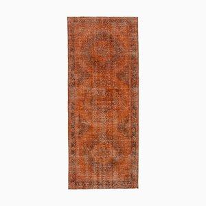 Orange Oriental Antique Hand Knotted Overdyed Runner Carpet