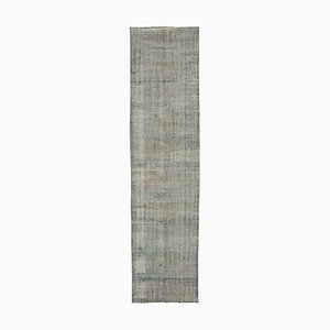 Vintage Grey Oriental Hand Knotted Overdyed Runner Carpet