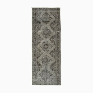 Grey Turkish Antique Handmade Overdyed Runner Carpet