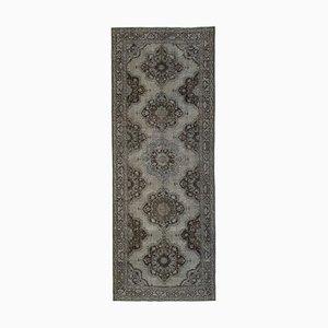 Grey Turkish Traditional Handmade Overdyed Runner Carpet