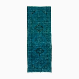 Turquoise Oriental Antique Hand Knotted Overdyed Runner Carpet