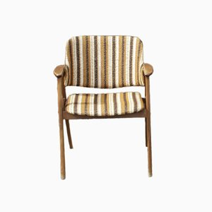Vintage Scandinavian Style Armchair with Striped Upholstery