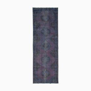 Purple Turkish Antique Handmade Overdyed Runner Carpet
