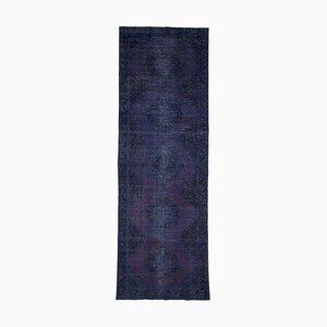 Blue Turkish Low Pile Handmade Overdyed Runner Carpet
