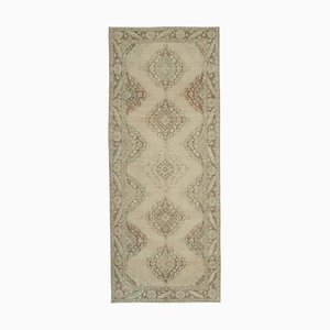 Beige Turkish Traditional Handmade Vintage Runner Carpet