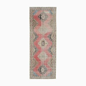 Beige Anatolian Decorative Hand Knotted Vintage Runner Carpet