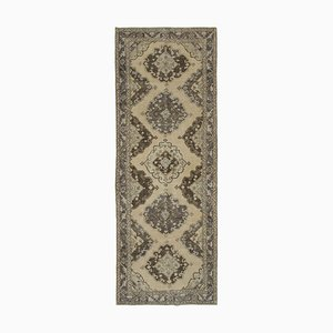 Beige Anatolian Traditional Hand Knotted Vintage Runner Carpet