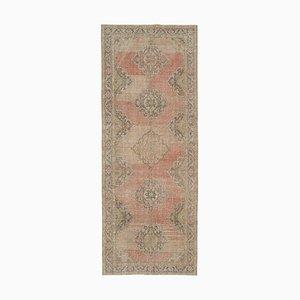 Beige Oriental Contemporary Hand Knotted Vintage Runner Carpet