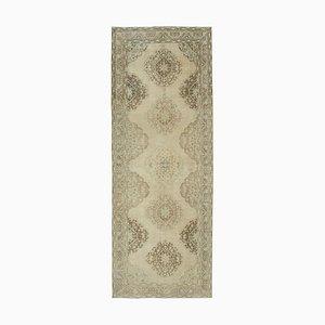 Beige Oriental Wool Hand Knotted Vintage Runner Carpet