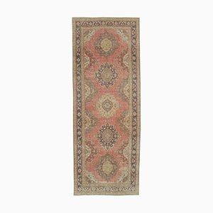 Beige Oriental Decorative Hand Knotted Vintage Runner Carpet