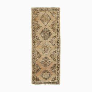 Beige Turkish Contemporary Handmade Vintage Runner Carpet