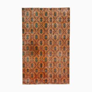 Turkish Orange Handmade Wool Vintage Carpet