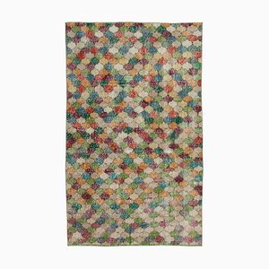 Anatolian Multicolor Hand Knotted Wool Vintage Carpet