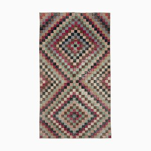 Turkish Red Hand Knotted Wool Vintage Carpet