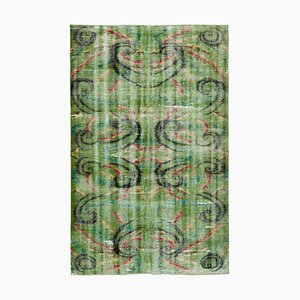 Oriental Green Hand Knotted Wool Vintage Carpet