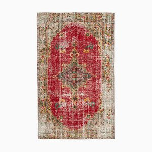 Anatolian Red Hand Knotted Wool Vintage Carpet