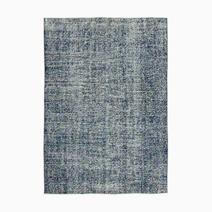 Anatolian Blue Hand Knotted Wool Vintage Carpet