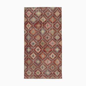 Anatolischer Handgeknüpfter Roter Vintage Teppich aus Wolle