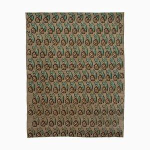 Turkish Brown Hand Knotted Wool Vintage Carpet