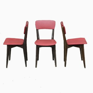 Wood and Skai French Side Chairs, 1960, Set of 3