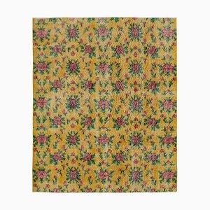 Turkish Yellow Handmade Wool Vintage Carpet