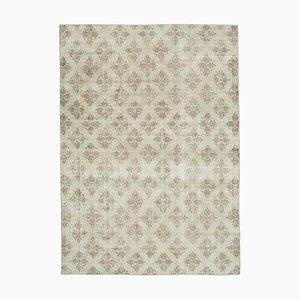 Turkish Beige Hand Knotted Wool Vintage Carpet