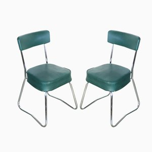 Industrial Steel Tube Chairs with Green Covers, 1950s, Set of 2