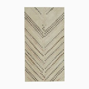 Anatolian Beige Handmade Wool Vintage Carpet