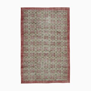 Oriental Red Hand Knotted Wool Vintage Carpet