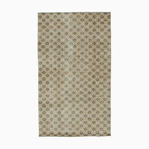Anatolischer Handgeknüpfter Beiger Vintage Teppich aus Wolle