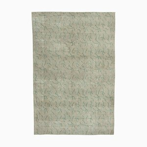 Turkish Beige Handmade Wool Vintage Carpet