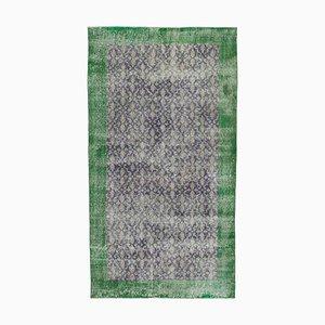 Turkish Purple Hand Knotted Wool Vintage Carpet