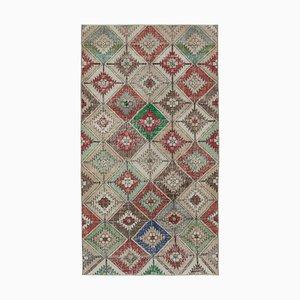 Anatolischer Mehrfarbiger Handgeknüpfter Vintage Teppich aus Wolle