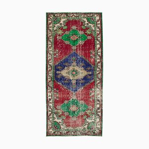 Turkish Red Hand Knotted Wool Runner Carpet