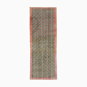 Turkish Multicolor Hand Knotted Wool Runner Carpet