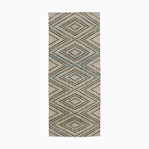 Turkish Beige Hand Knotted Wool Runner Carpet