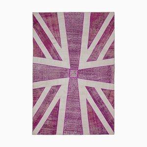 Turkish Hand Knotted Wool Vintage Flag Carpet