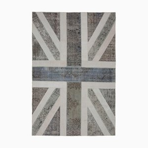 Anatolian Hand Knotted Wool Vintage Flag Carpet