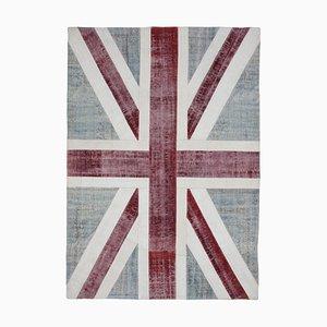 Handgemachter anatolischer Vintage Flaggen-Teppich aus Wolle