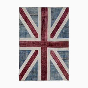 Anatolian Handmade Wool Vintage Flag Carpet