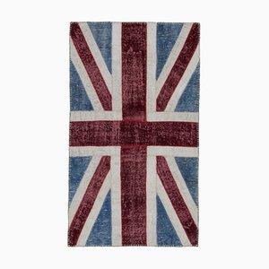 Turkish Handmade Wool Vintage Flag Carpet