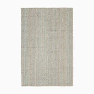 Beigefarbener Handgeflotteter Kelim Teppich aus Wolle