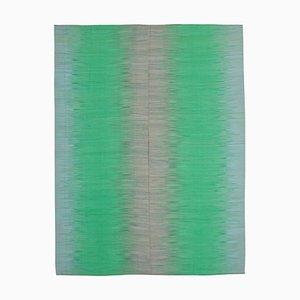 Grüner türkischer Handgeknüpfter Flatwave Kilim Teppich aus Wolle