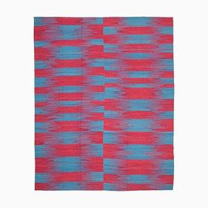 Red Turkish Handmade Wool Flatwave Kilim Carpet