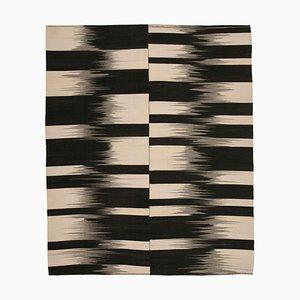 Black Turkish Hand Knotted Wool Flatwave Kilim Carpet