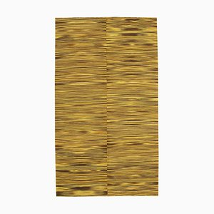 Yellow Oriental Handmade Wool Flatwave Kilim Carpet