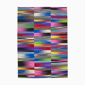 Mehrschichtiger Anatolischer Flatwave Kilim Teppich aus Wolle mit Handknöpfen